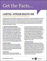 Transgender Female Health Care fact sheet cover